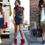 Como combinar  correctamente una falda con calzado ?